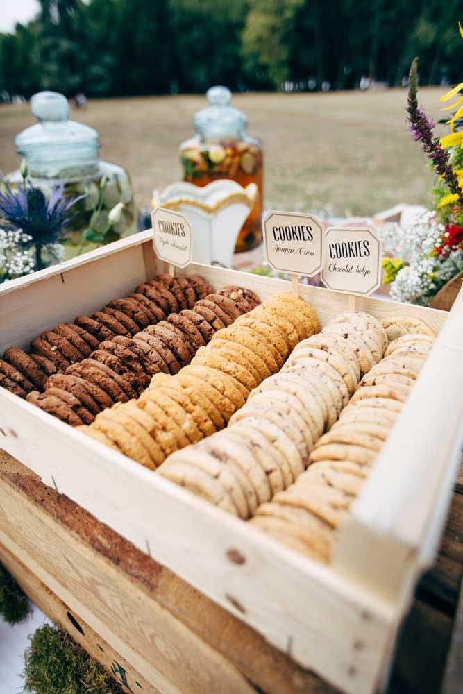 Caixa de cookies! Uma ótima ideia é misturar sabores diferentes