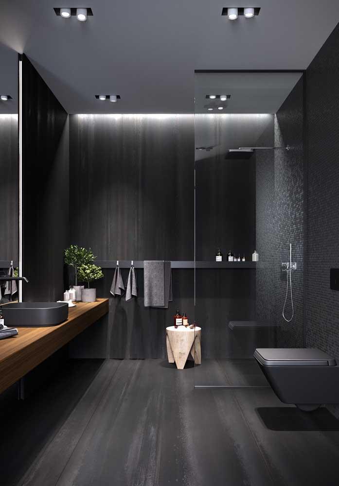 Um modelo de banheiro moderno que é a cara da elegância e do refinamento