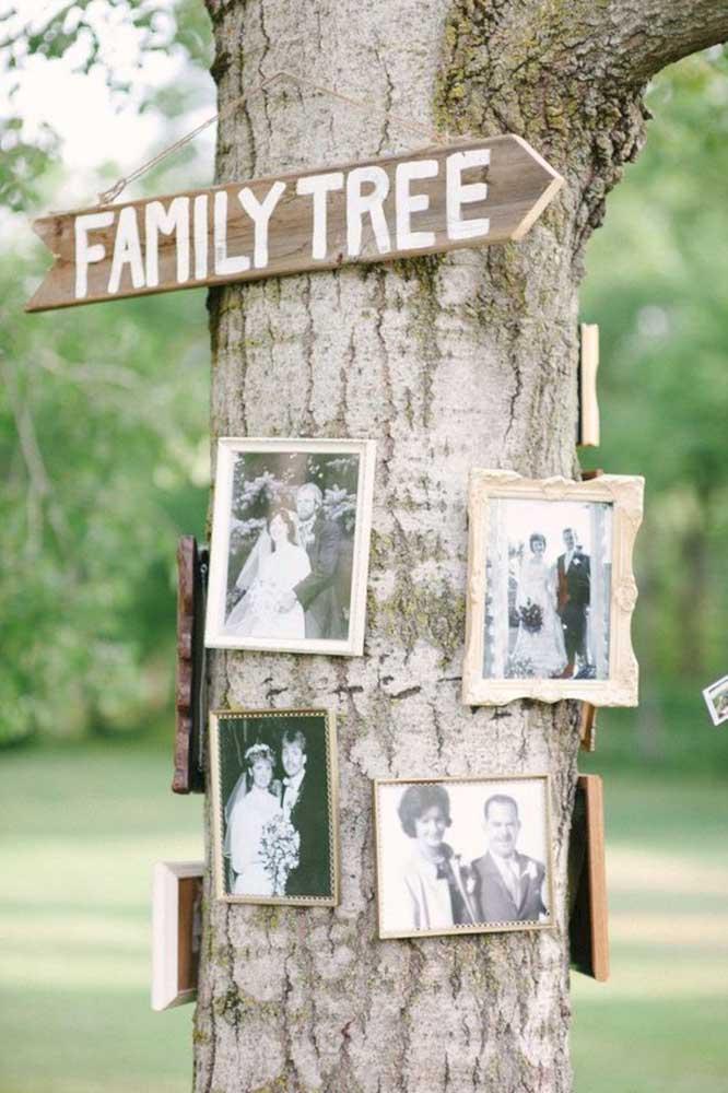 O que acha de fazer um painel de fotos no tronco da árvore? Quer algo mais apropriado do que isso para representar a árvore da família?