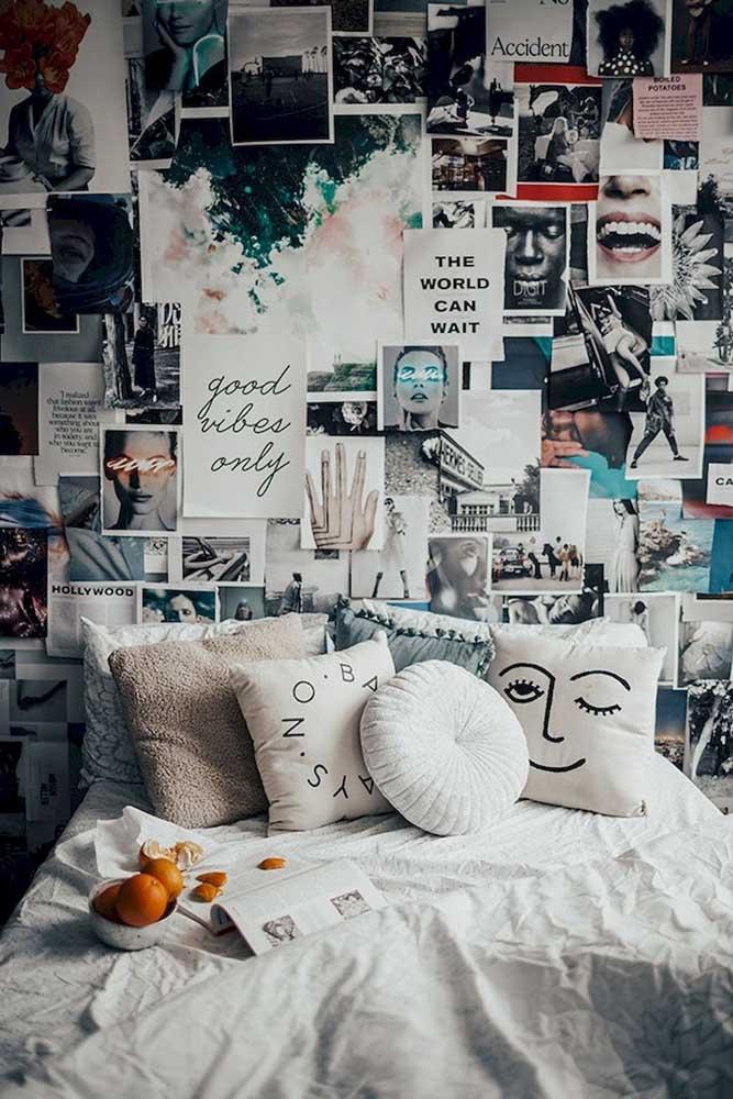 Se preferir, pode encher a parede do quarto com várias fotos e recortes de imagens que você gosta.