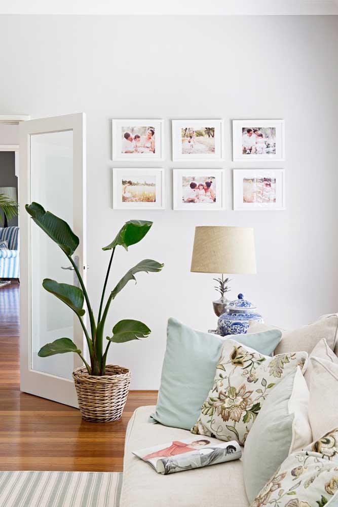 Se você quiser pode fazer algo mais padronizado como esses quadros de fotos do mesmo tamanho que foram organizados na parede.