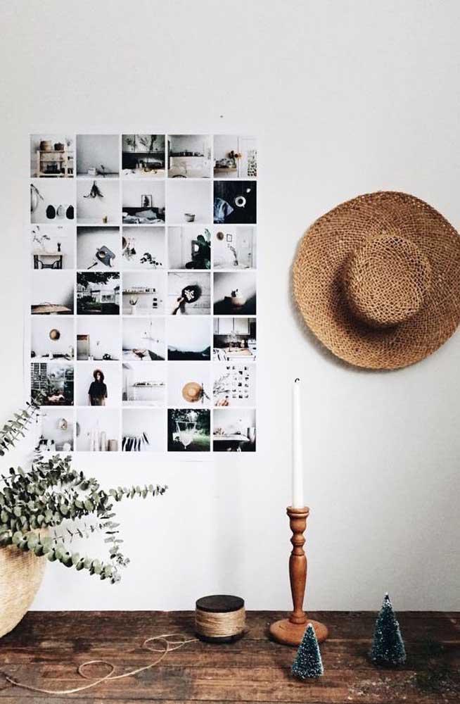Recorte várias fotos e deixe-as do mesmo tamanho. Depois é só colar na parede sempre mantendo uma ao lado da outra.
