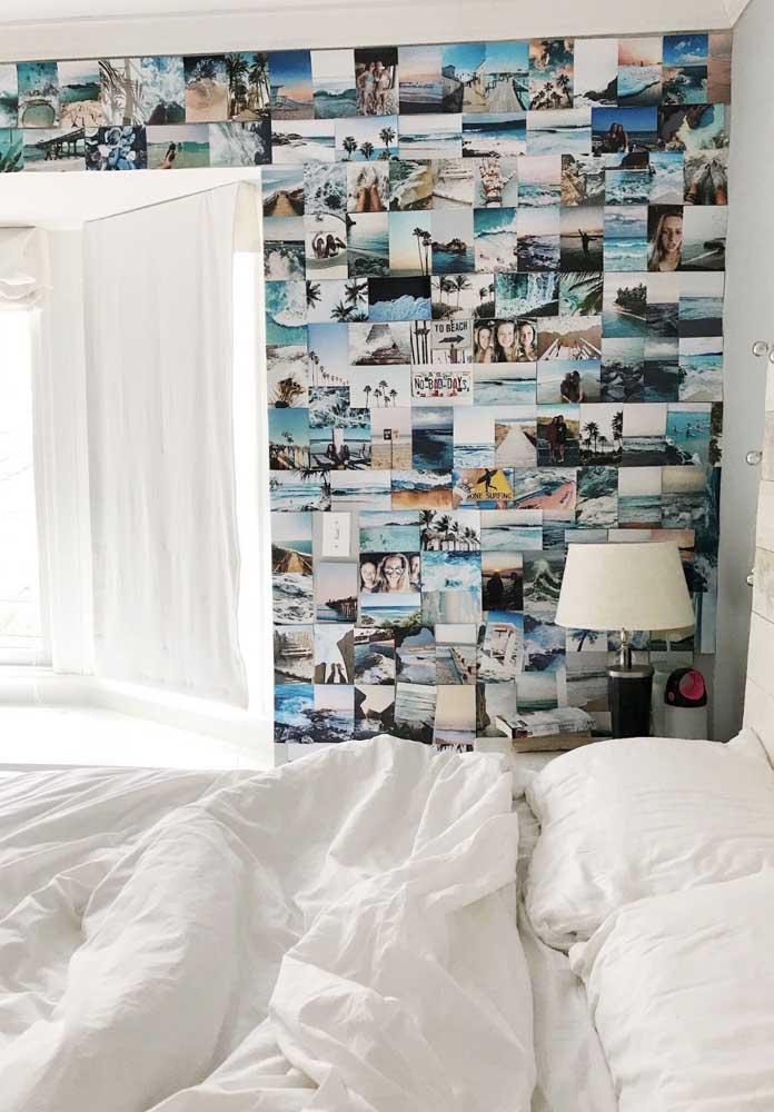Se quiser, pode fazer isso na parede do quarto. Nesse caso, você pode encher a parede de fotos.