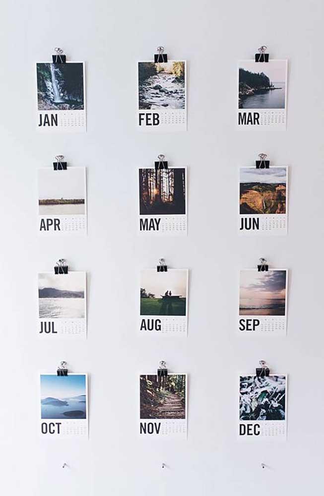 Já pensou em fazer um painel de fotos que identifique cada mês do ano? Difícil vai ser escolher a foto mais querida de cada mês.