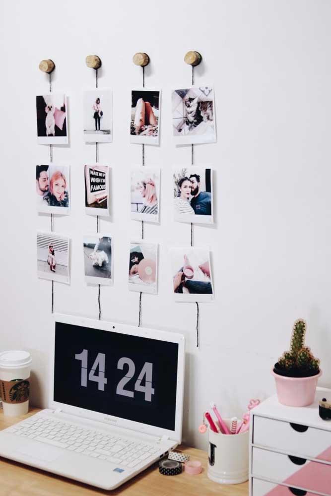 Olha que painel de fotos bem criativo. O mais bacana é que todas as fotos ficam bem organizadas.