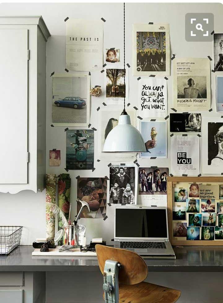 Vale fixar as fotos diretamente na parede? Se você não vê problemas, pode colar as imagens com fitas adesivas.