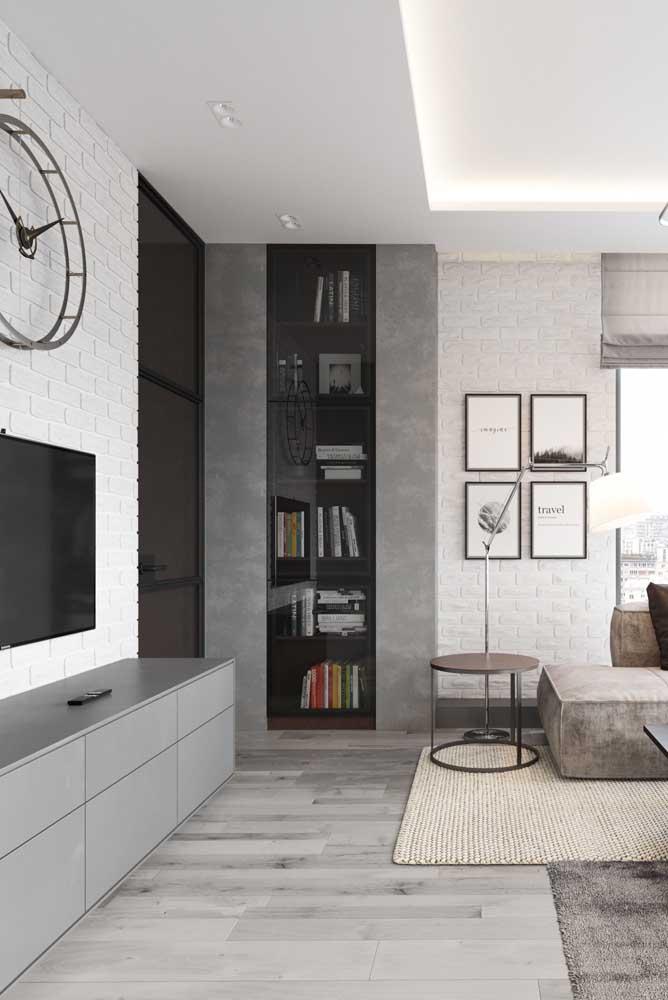 Sala de estar em estilo industrial com piso vinílico em placas: um revestimento para todos os estilos