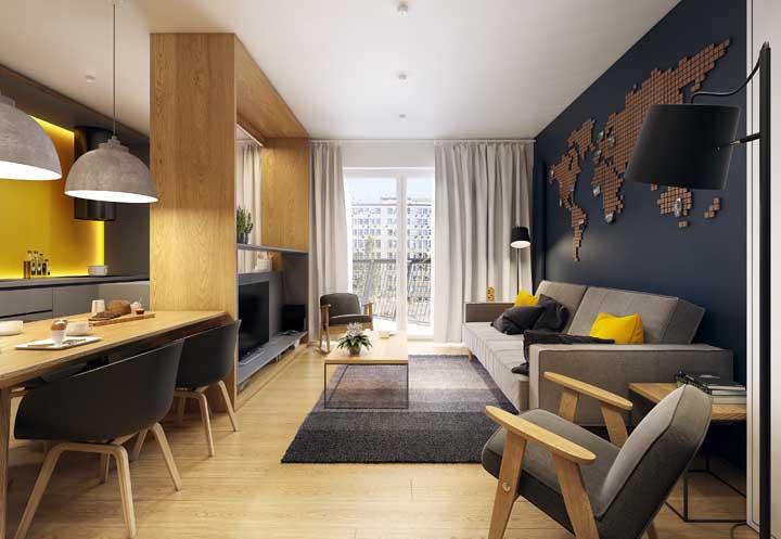 O pequeno apartamento contou com a elegância e conforto do piso vinílico
