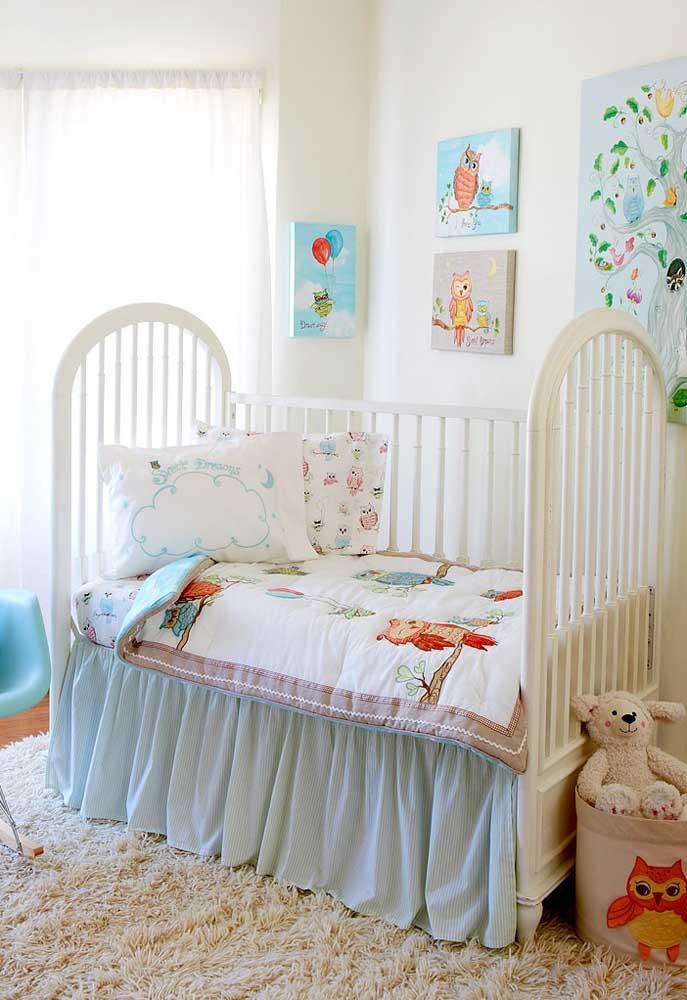 A coruja pode ser o personagem da decoração do quarto do bebê. Além de fofa, a coruja é extremamente expressiva.