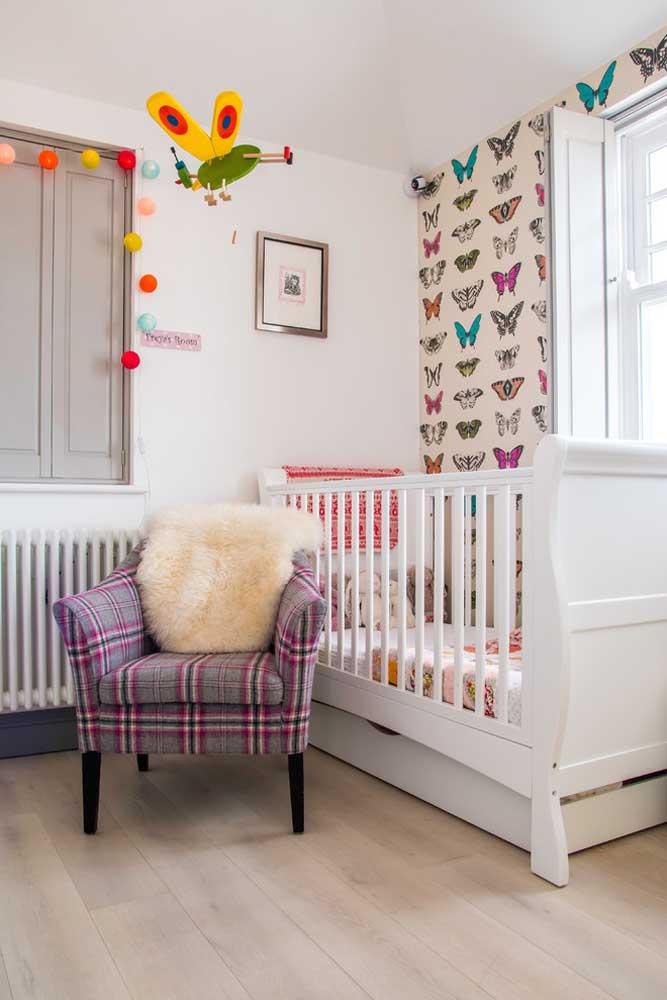 A borboleta é um bichinho tão singelo e delicado, perfeito para servir como tema da decoração do quarto de bebê feminino.