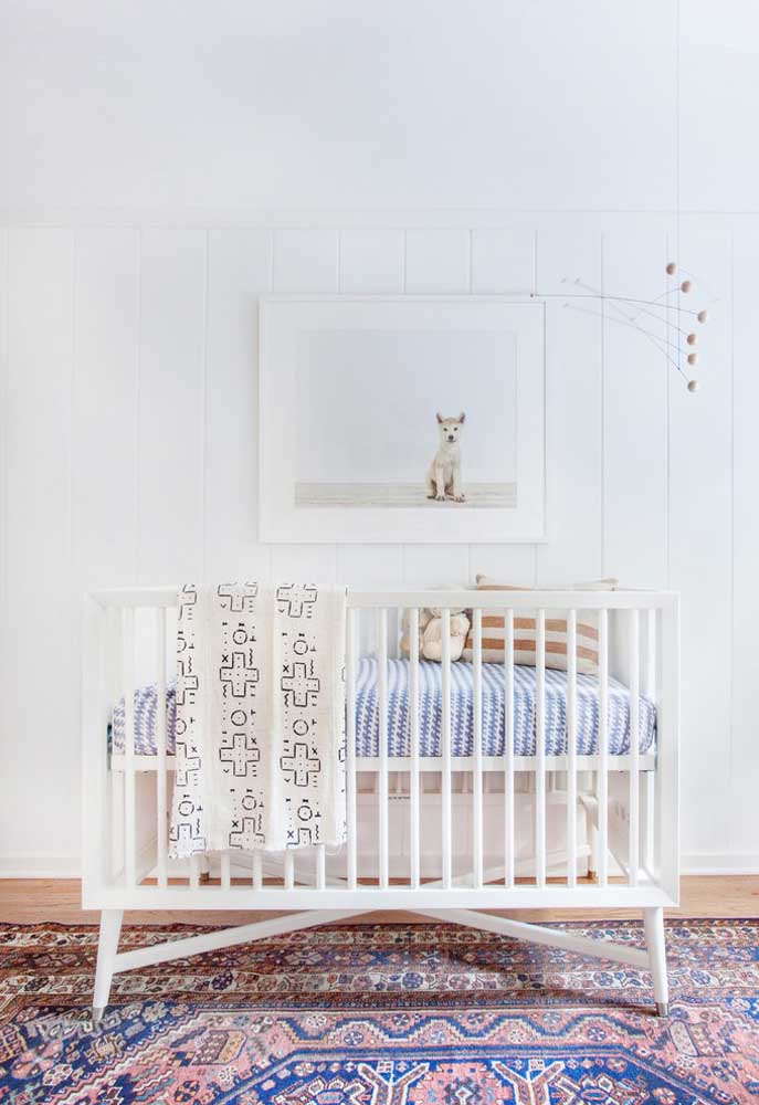 Ás vezes, apenas um tapete com estampa diferente já consegue dar um grande destaque para o quarto do bebê.