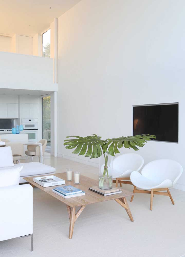Ou se você quer algo mais delicado, pense em usar um vaso de plantas para colocar na mesa de centro da sala de estar.