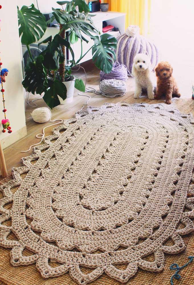 Não é só quem visita a casa que parece se encantar com o tapete de crochê oval, os pets parecem adorar a ideia também