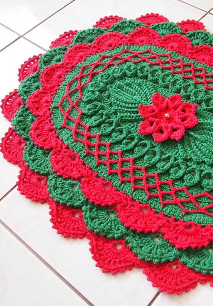 Que tal uma inspiração natalina para o tapete de crochê oval?