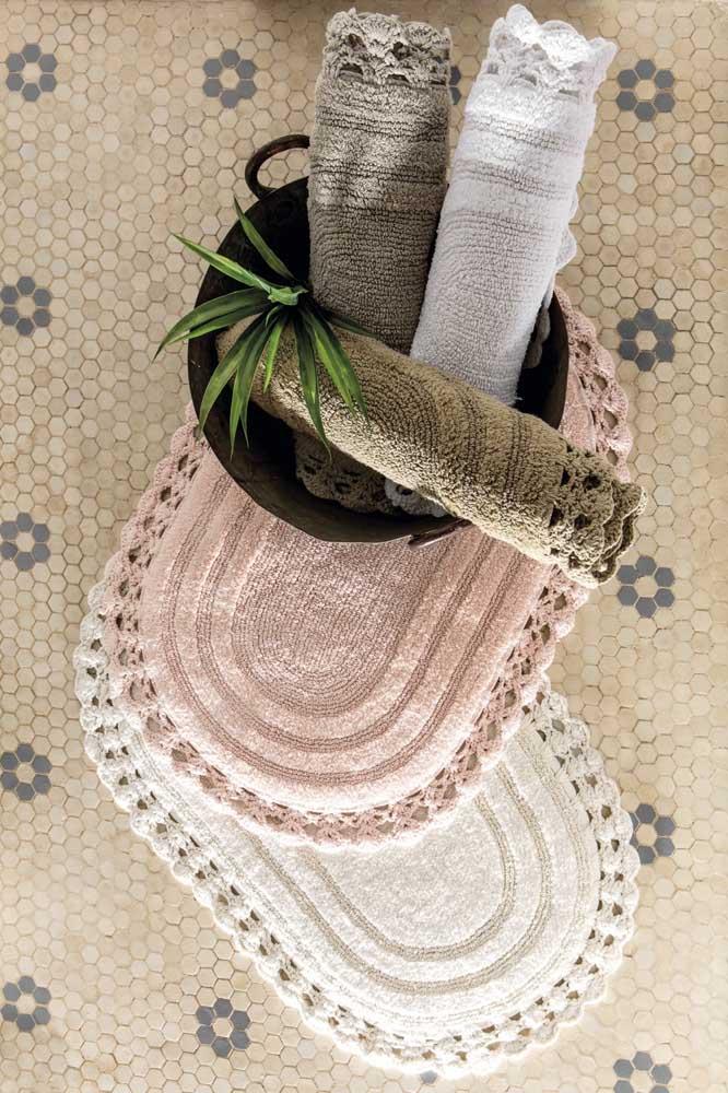 Kit de tapetes de crochê para o banheiro