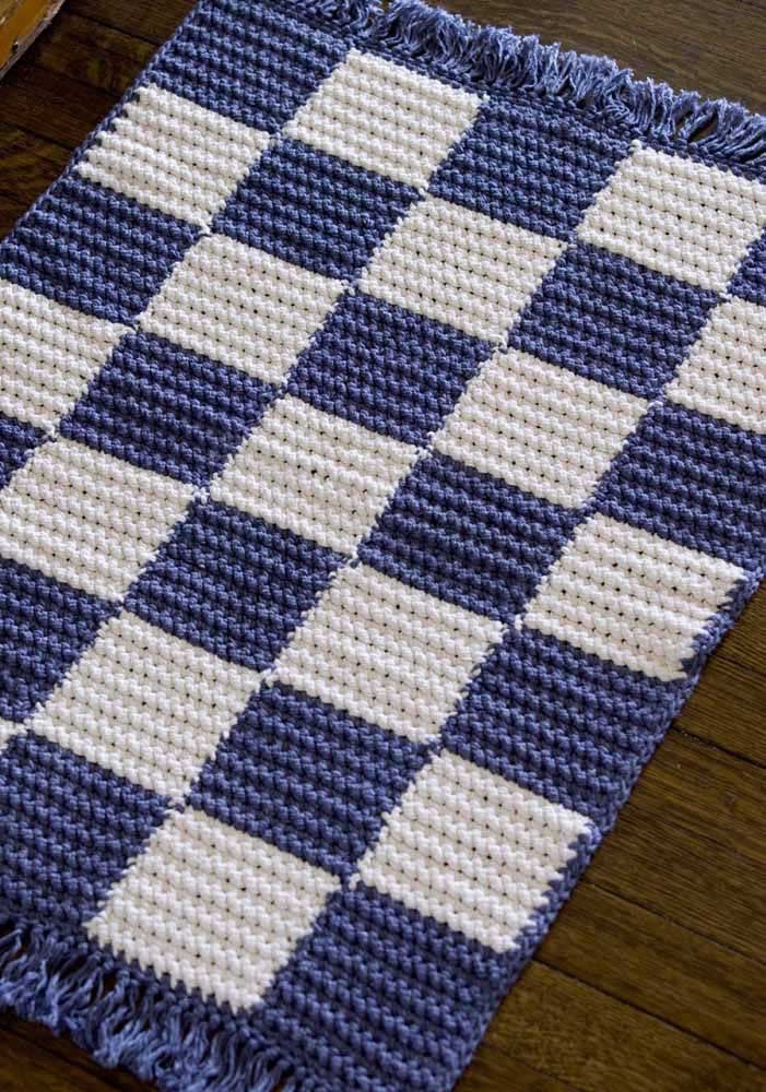 Xadrez azul e branco