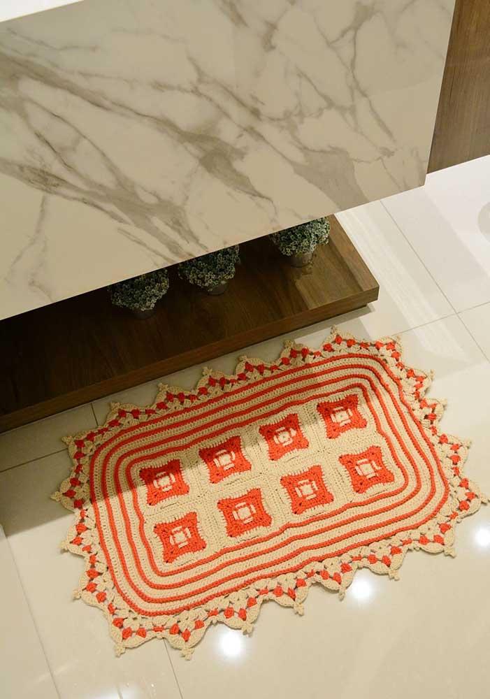 Tapete de crochê duas cores para o banheiro