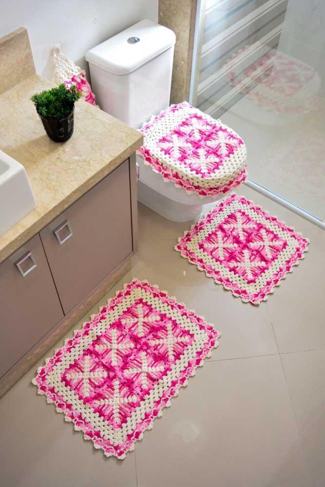 Jogo de tapete para banheiro em crochê com quatro peças