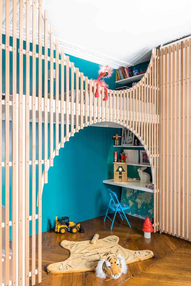 Olha como fica uma graça a cor azul turquesa no quarto das crianças.