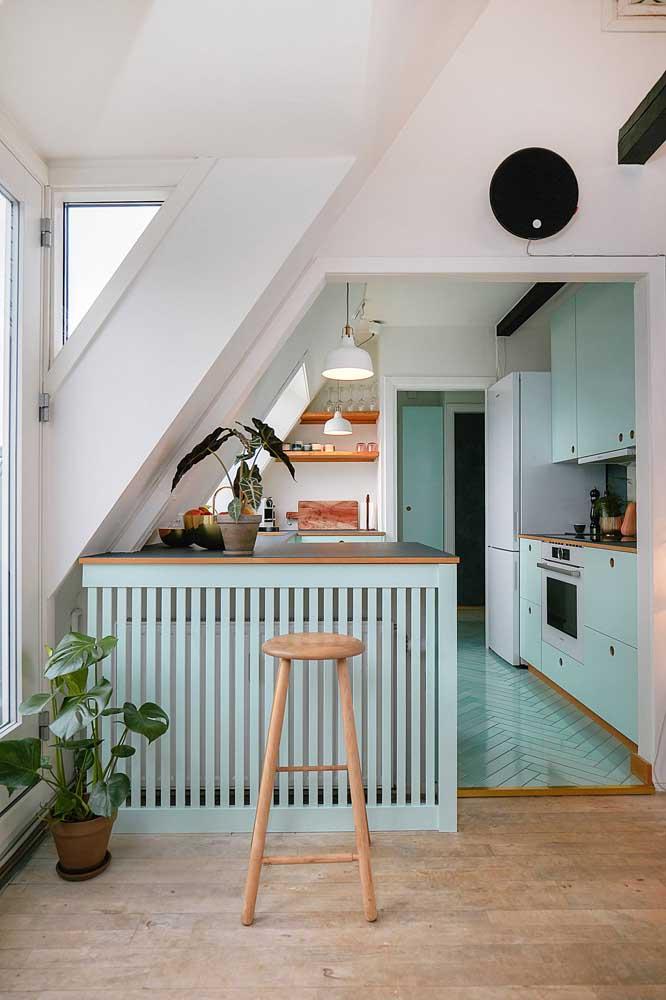 E essa cozinha toda azul turquesa que graça que ficou.