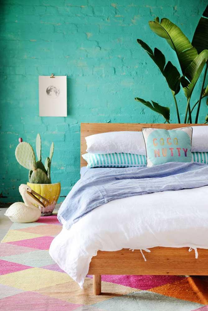 No quarto é preciso ter cautela na escolha do tom de azul turquesa.