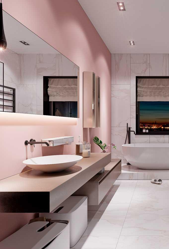 Os tons de rosa mais clarinho são perfeitos para deixar o ambiente com a sensação de amplitude.