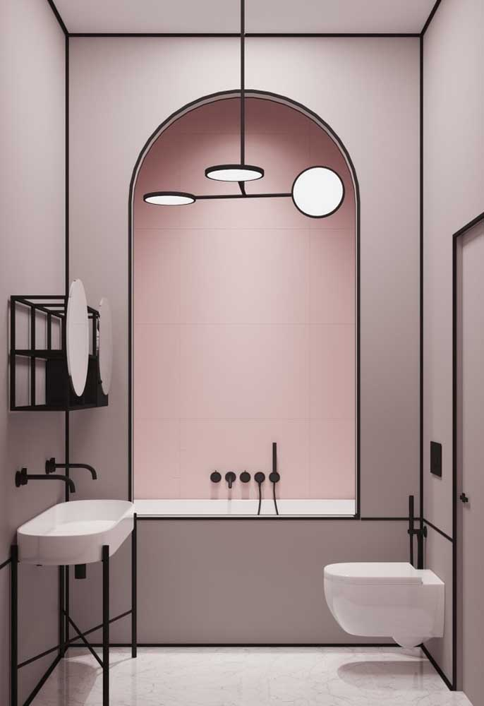 Que tal misturar rosa com preto? O resultado é um banheiro totalmente moderno, sem perder a delicadeza.