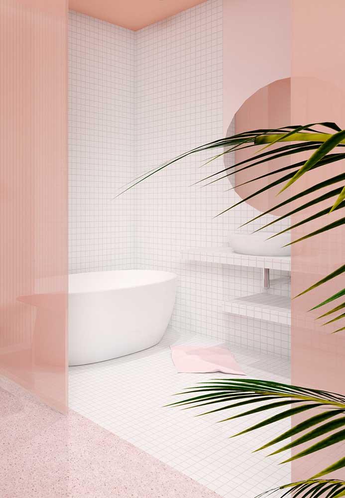 O que acha de usar os tons de rosa nos boxes de vidro do banheiro?