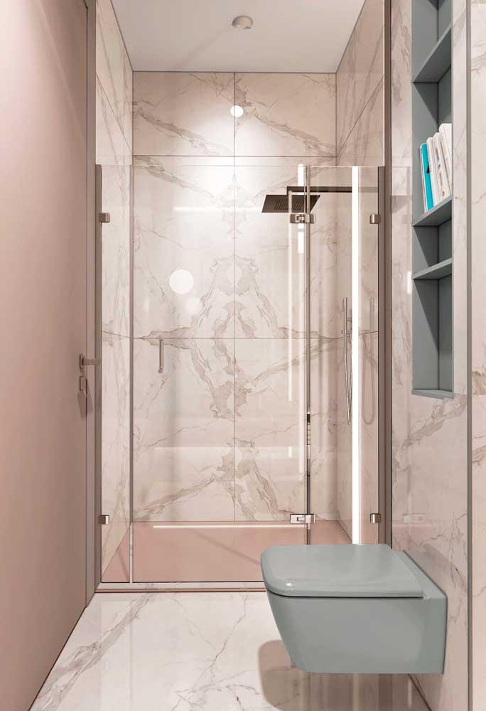 Olha que revestimento perfeito para usar no banheiro, ainda mais se você combinar com tons de rosa e outras cores.