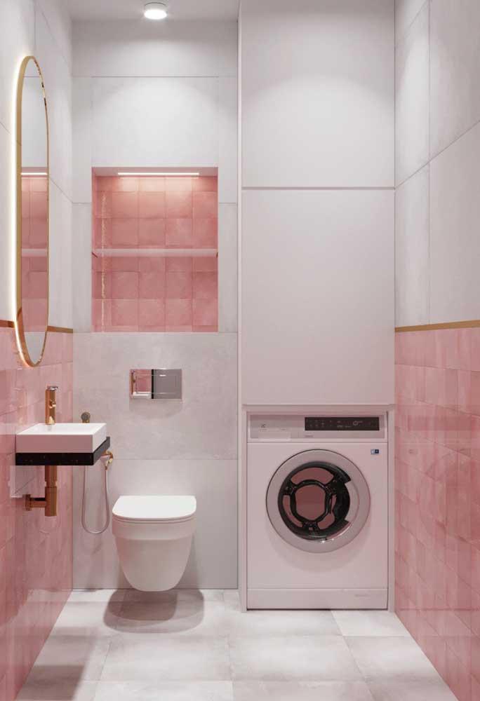 Incrível como a cor dourada inserida em pequenos detalhes deixa o ambiente com um ar mais luxuoso.