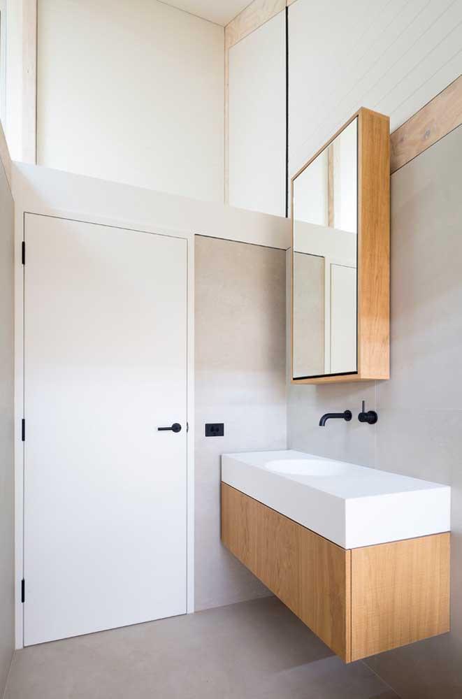 Balcão suspenso para o gabinete do banheiro planejado: opção moderna de móvel