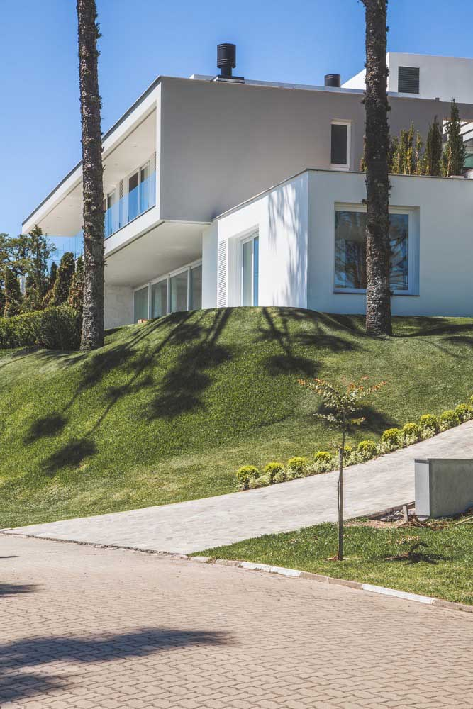 Toda casa grande precisa de um jardim gramado e bem cuidado para dar as boas vindas a quem chega