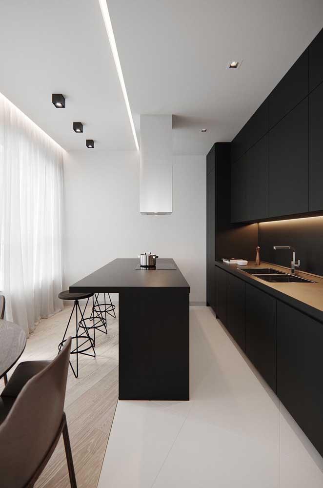 Cozinha americana pequena em formato linear; destaque para o contraste entre o preto dos móveis e o branco das paredes
