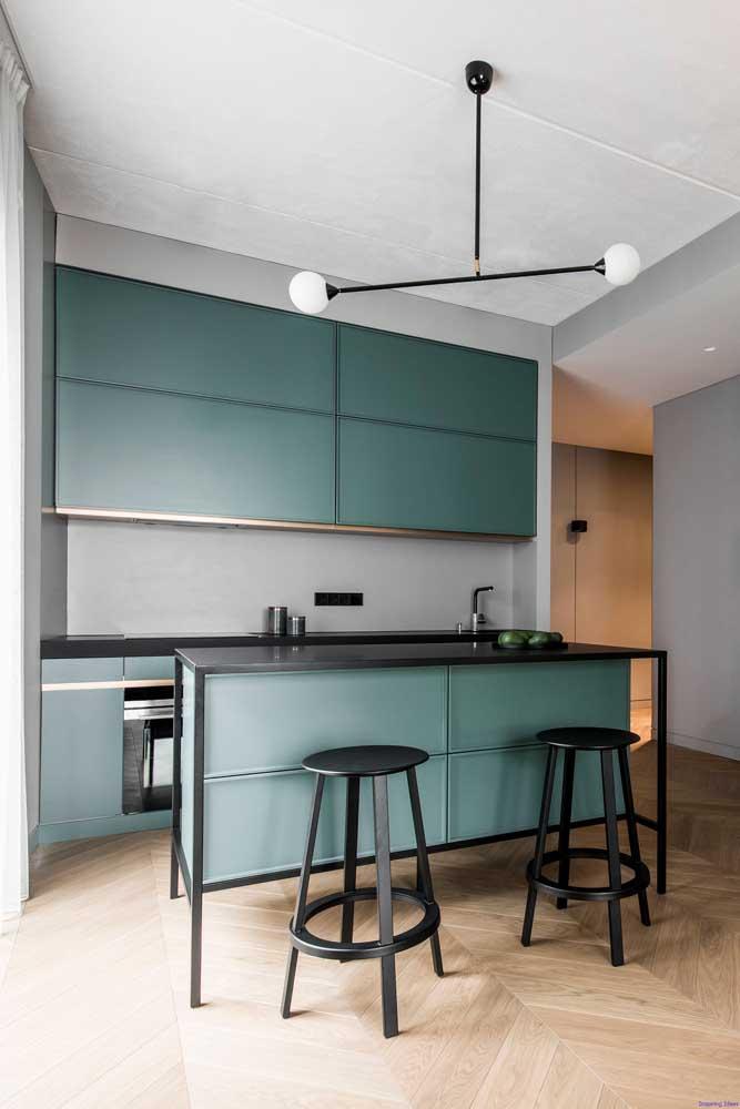 Cozinha americana pequena moderna com armários sob medida em um tom de verde bem original