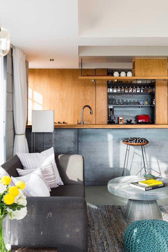 Cozinha americana com balcão de cimento queimado: leve estilo e modernidade para os ambientes integrados