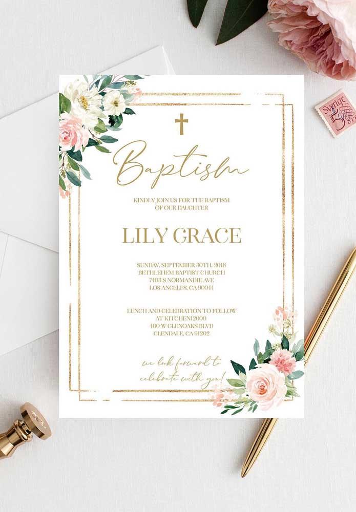 Procure combinar os elementos do convite do batizado aos elementos que estarão presentes na decoração da festa