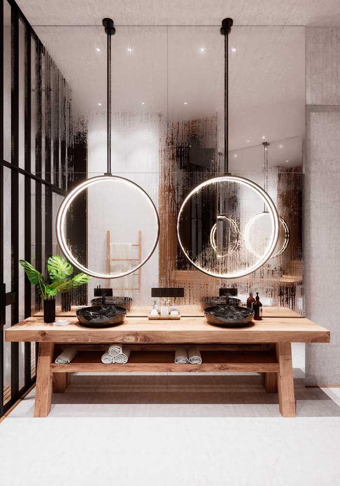 Uma inspiração incrível para espelhos de banheiros mais modernos