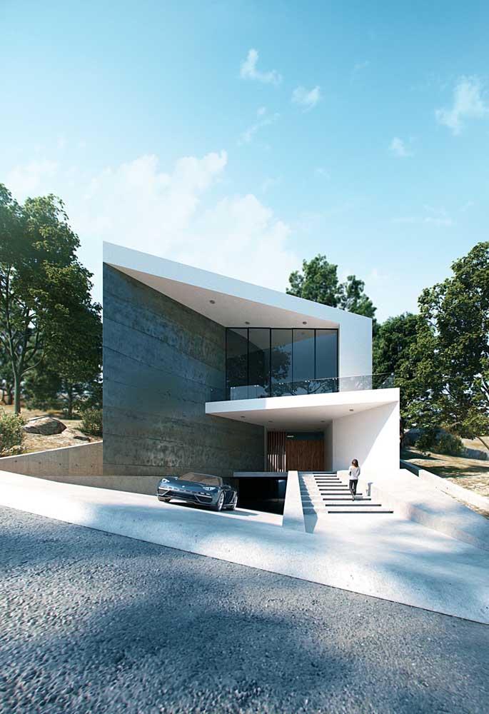 O formato enviesado é o destaque dessa construção toda moderna