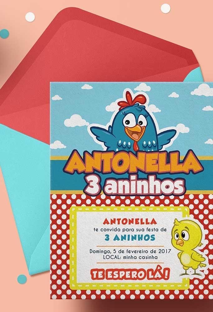 Existem diversos modelos de convites da Galinha Pintadinha na internet que você só precisa imprimir.
