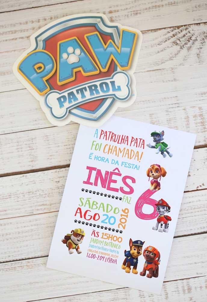 Chame os amigos para participar da festa patrulha canina com o aniversariante.