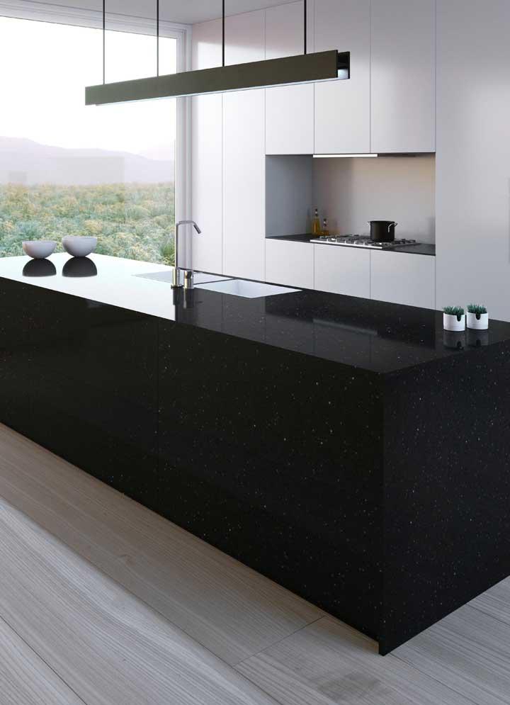 Granito preto Stellar para o balcão e a bancada da cozinha moderna e minimalista