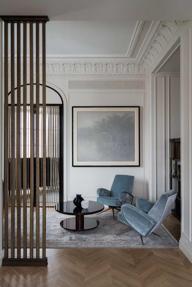 Poltronas modernas de veludo para a sala de estilo clássico