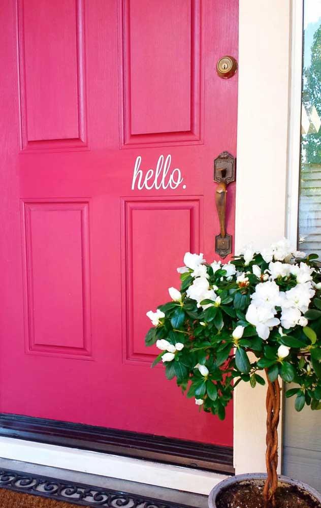 Ama rosa? Então que tal colocar a cor na porta de entrada?