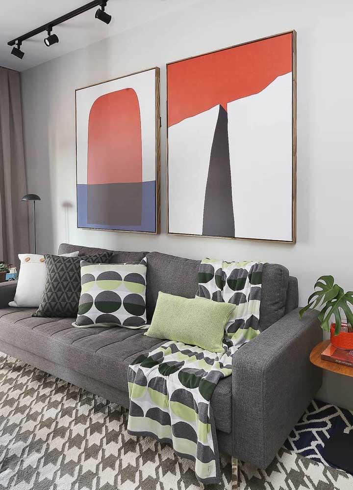 Quadro moderno para sala; o vermelho do quadro quebra a neutralidade do ambiente