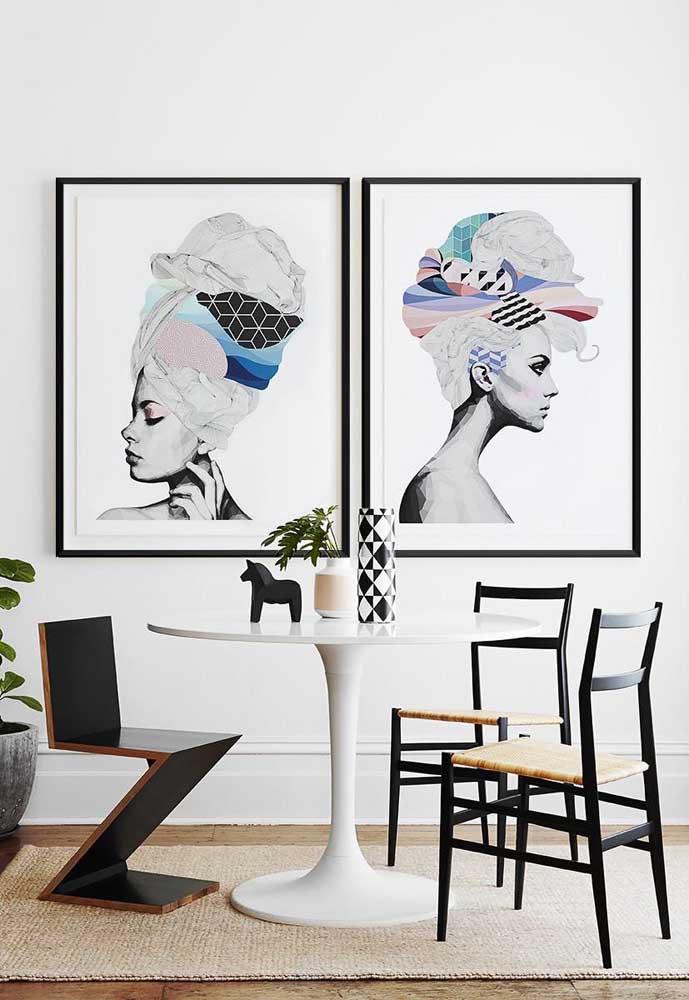 Foto e arte se combinam nessa dupla de quadros para sala
