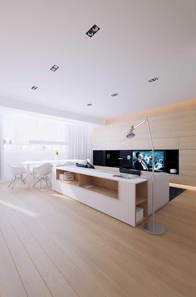 Sala integrada de estilo moderno e minimalista