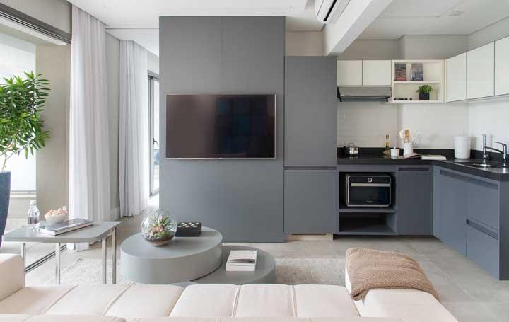 Sala e cozinha dividem o mesmo ambiente; tudo muito organizado e bem planejado