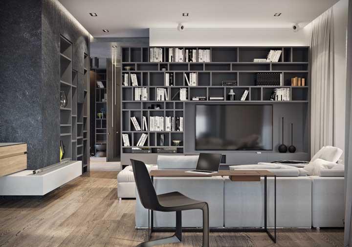 Estantes com nichos: o móvel economiza espaço e organiza tudo direitinho