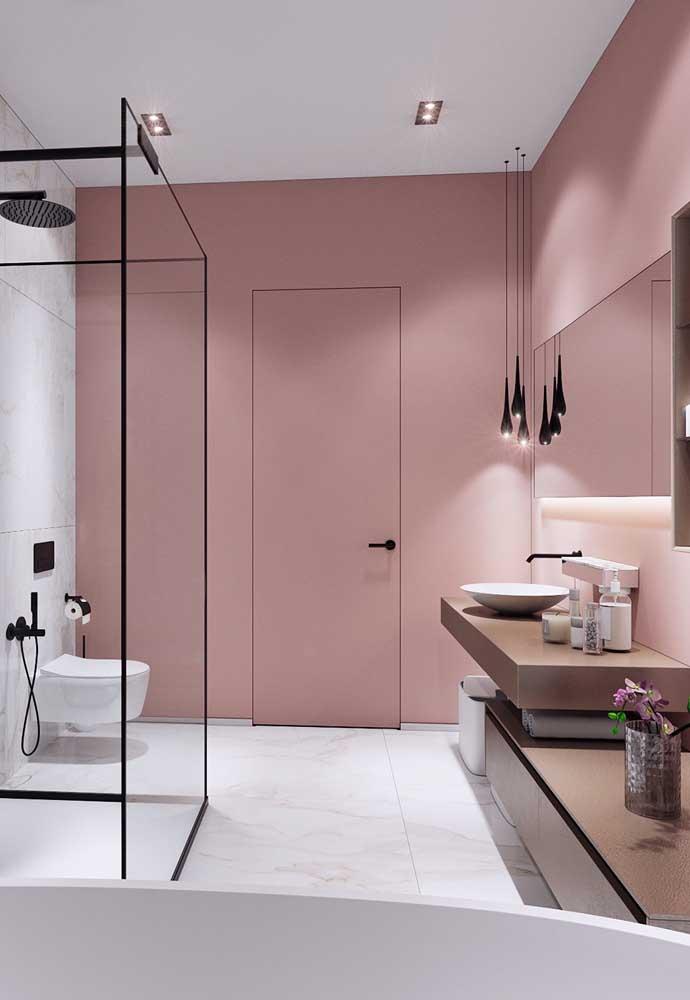 Incrível como a cor rosa deixa o banheiro com um ar mais sofisticado e estiloso.