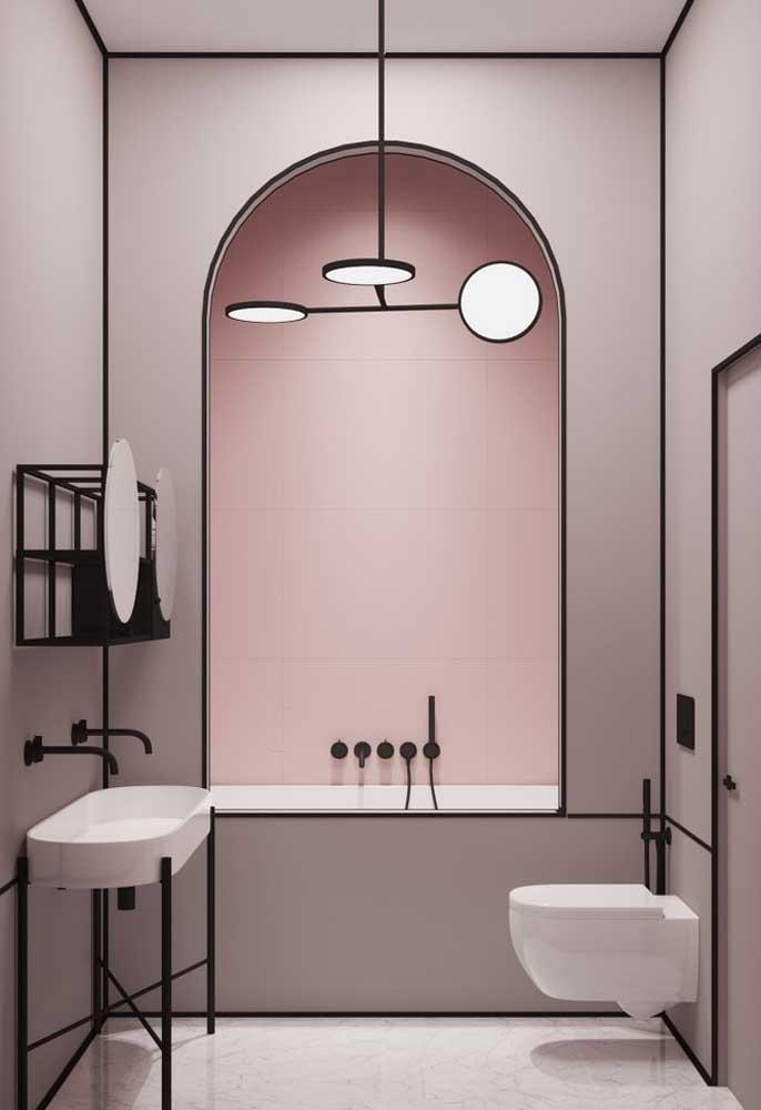 Olha que banheiro chique e elegante. Para isso foram usados tons de rosa e as cores preta e branca.